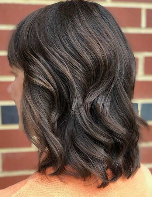 Brown Lob With Highlights