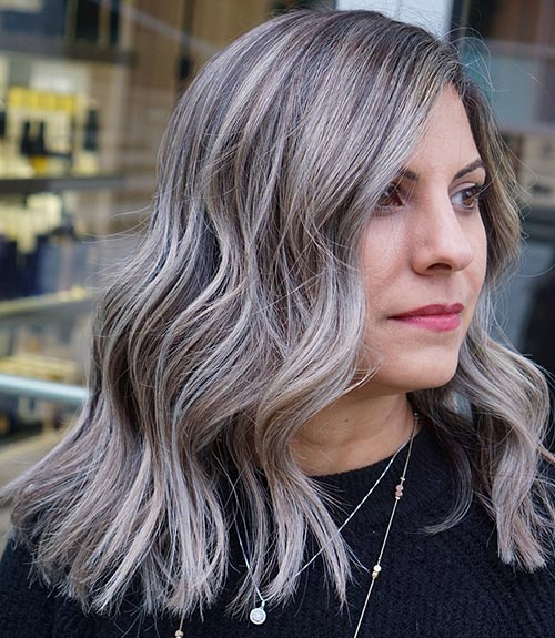 Dusty Gray With Blonde Highlights