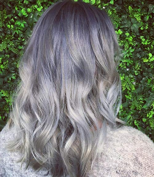 Gray Balayage With A Hint Of Lilac