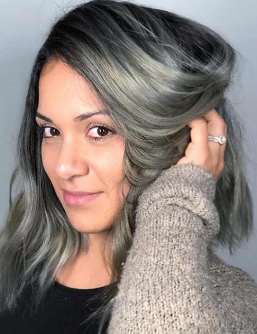 Gray Hair With Feathered Ends