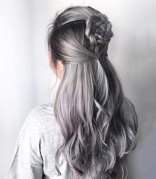 Intricate Gray Hairstyle