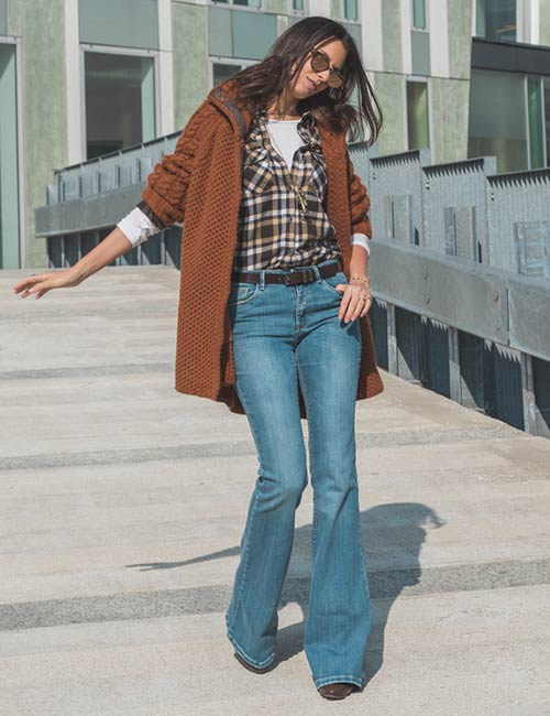 Plaid Shirt And Flare Jeans
