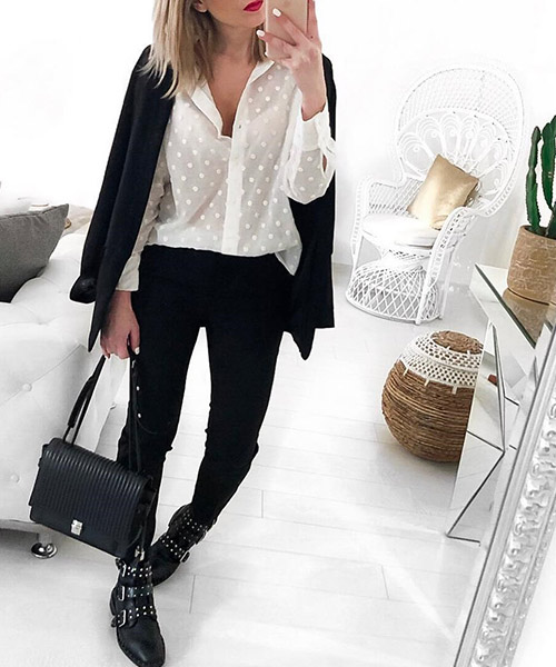 Black Trousers And White Shirt - Black And White Outfits