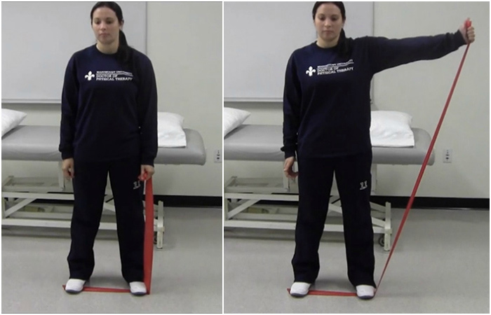 Shoulder Abduction Using A Resistance Band - Rotator Cuff Exercises