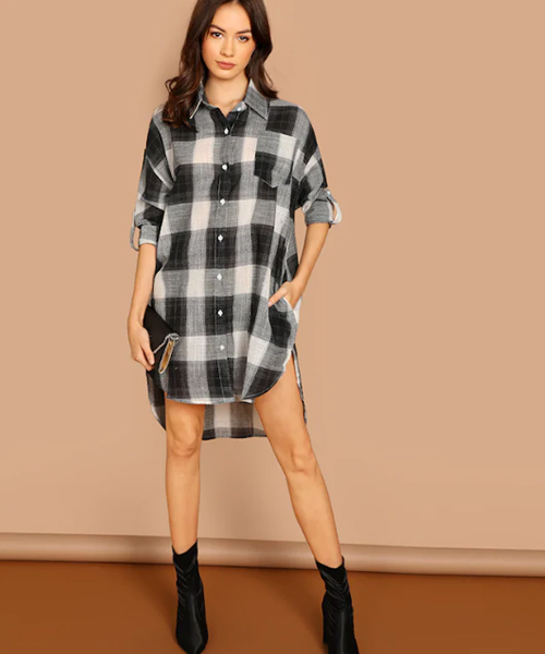White And Black High-Low Plaid Dress - Black And White Outfits