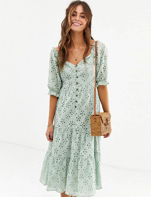 Tiered Midi Dress - Brunch Outfit