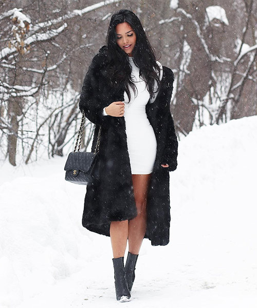 White Dress And Black Faux Fur Jacket - Black And White Outfits