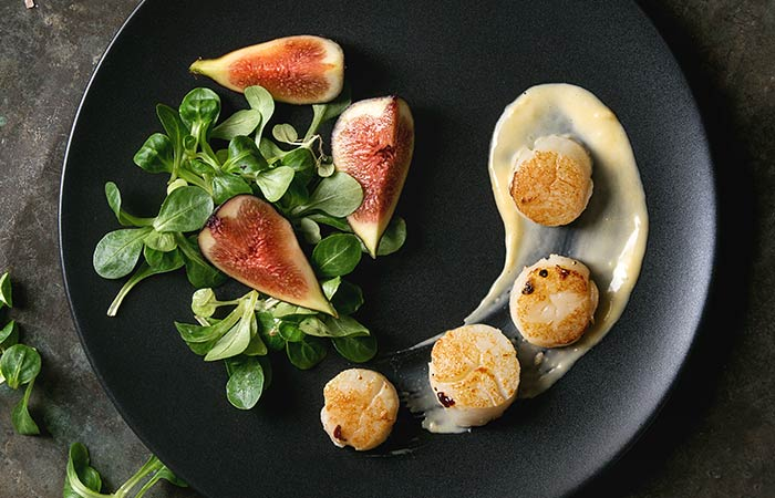 Butter Fried Scallops With Figs And Herbs