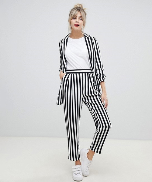 Casual Stripe Suit - Black And White Outfits
