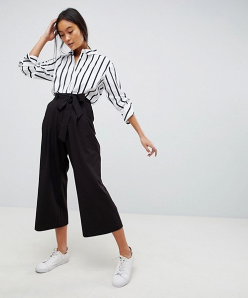 Culottes And Striped Shirt - Black And White Outfits