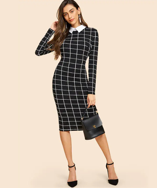 Checked Formal Dress - Black And White Outfits