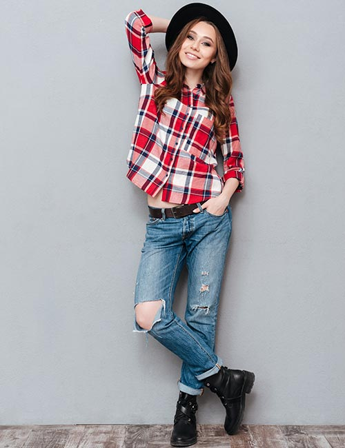 Plaid Shirt And Distressed Jeans - Hipster Outfits