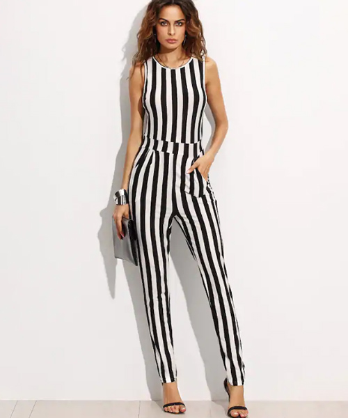 Vertical Stripes Jumpsuit - Black And White Outfits