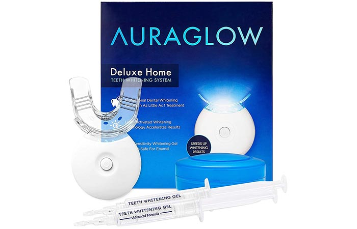 AuraGlow Deluxe Home Teeth Whitening System - LED Teeth Whitening
