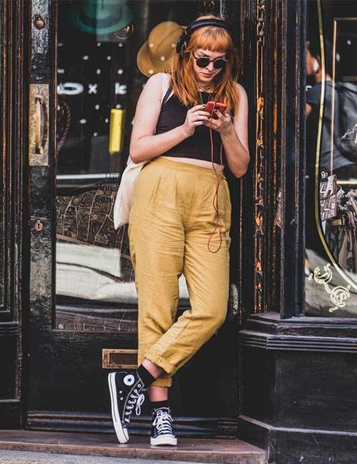 Black Crop Top And Yellow Trousers