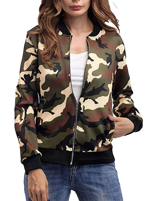 Whether you are 20, 30 or over 50, this jacket comes handy for the longest. It checks off the list for two things at once - camo and bomber </p> <h3> 2. Eclectic Print Bomber Jacket </h3> <div id=