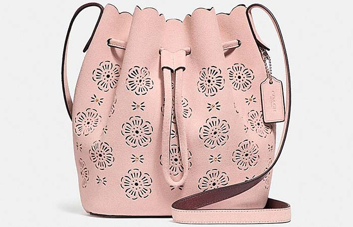 Coach Bucket Bag 18 With Cut Out Tea Rose - Bucket Bags