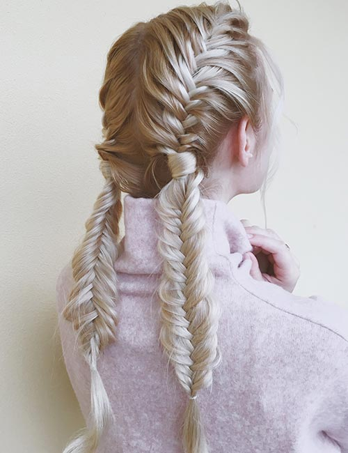 Double Waterfall Fishtail Braids