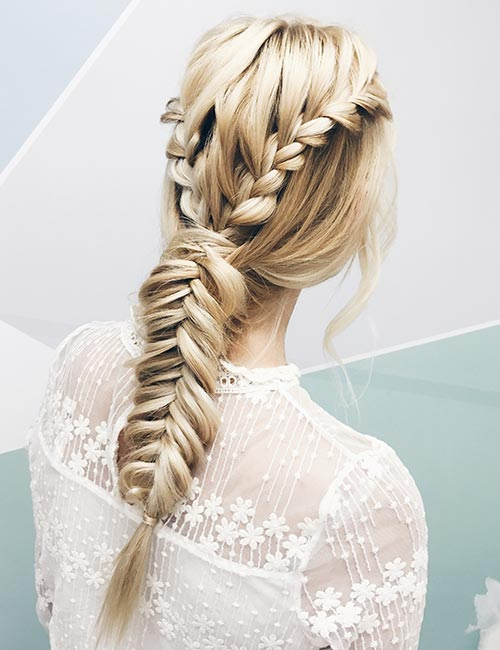 Double Waterfall-Single Fishtail Braid