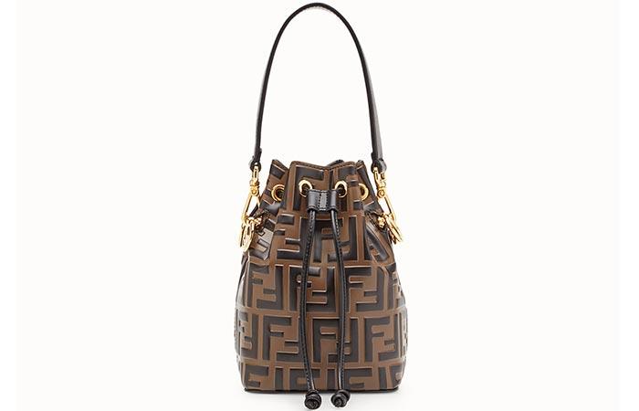 Fendi Mon Tresor Brown Leather Mini-Bucket Bag - Bucket Bags