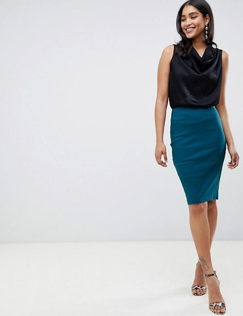 High-Waisted Pencil Skirt And Silk Blouse