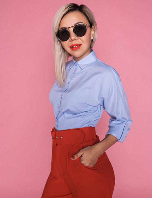 High-Waisted Red Pants And Blue Shirt