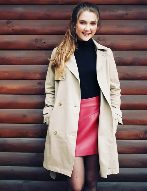 Leather Skirt And Trench Coat