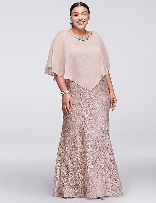 Long Plus Size Lace Dress