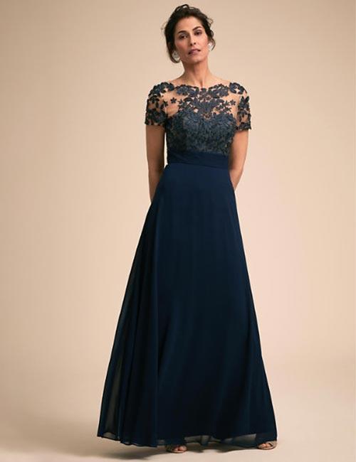 Navy Blue Dress For Garden Wedding