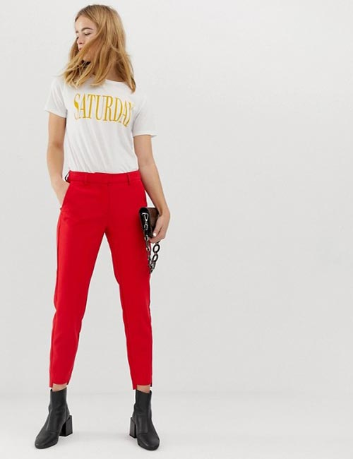 Red Ankle Length Trousers And Graphic T-Shirt