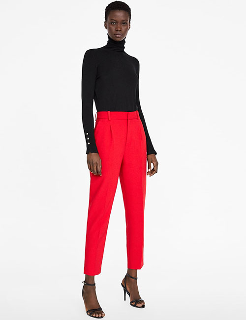 Red Cigarette Pants And Black Crew Neck