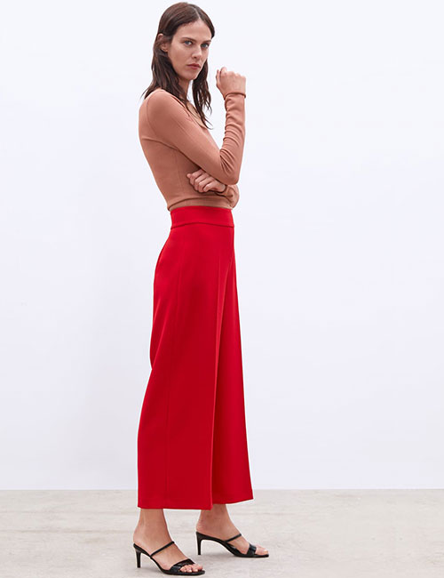Red Culottes And Tan Sweater