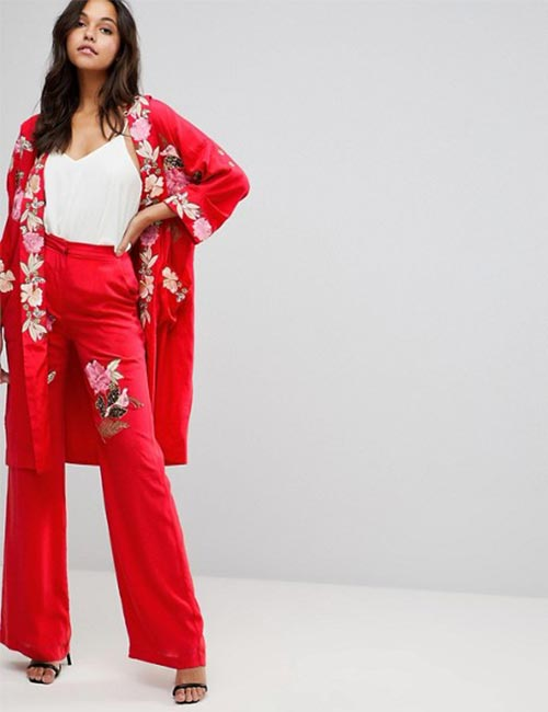 Red Embroidered Pants And Kimono