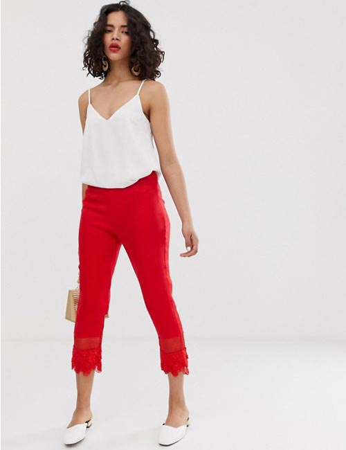 Red Lace Hem Trousers With White Noodle-Strapped Top
