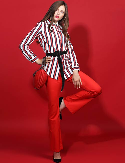 Red Pants And Striped Shirt