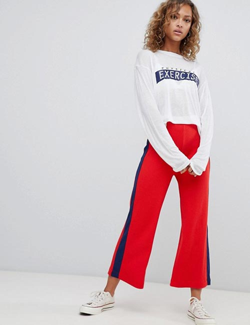 Red Side Stripe Culottes With Oversized Tops