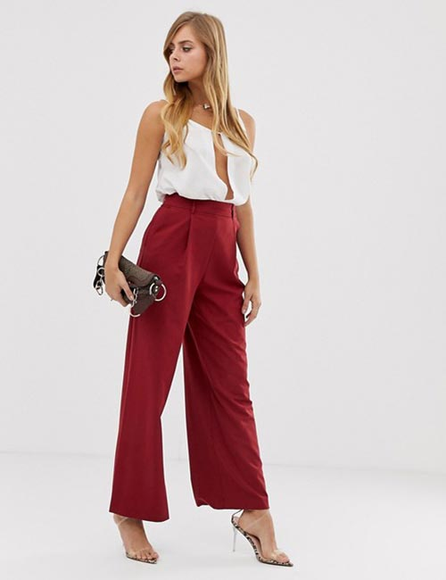 Wide-Legged Red Trousers And White Pleated Top