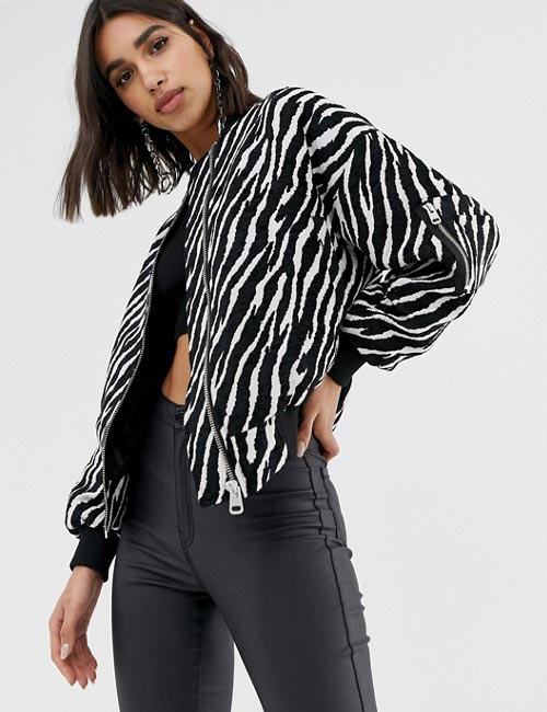 Zebra Print Bomber Jacket