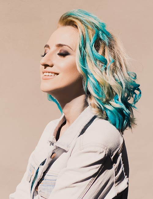 Blonde and light blue