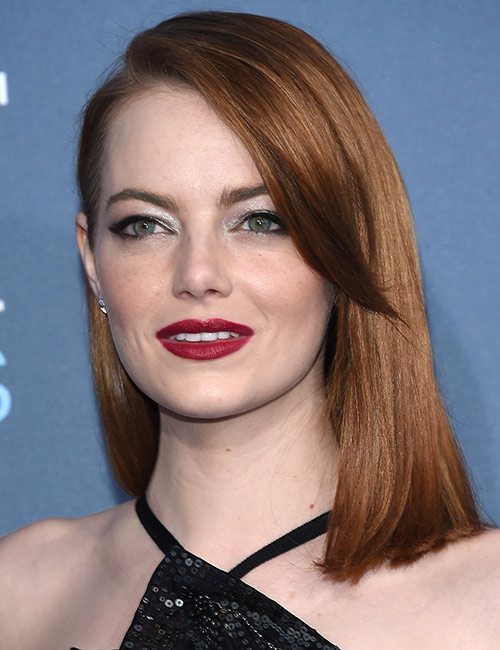 Shutterstock </p> </div> <p>  When you have extremely thin hair, going for layers may not be a good idea. Instead, choose dull hair. The dull hair will make the hair fall straight, which will make it thicker. Look close at Emma Stone&#39;s hair. Although it is not very thick, it certainly does. </p> <h3>  20. Waves </h3> <div id=