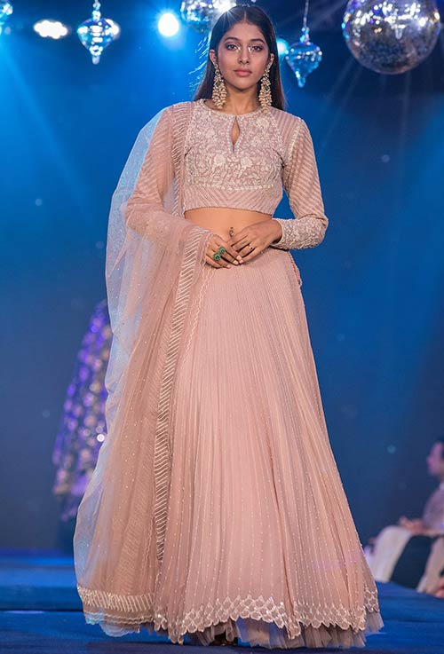 Blush Pink Lehenga With Full Sleeves Choli
