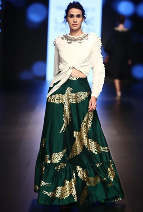 Contemporary Raw Silk Lehenga