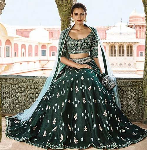 Emerald Green Lehenga With Gotta Patti Work