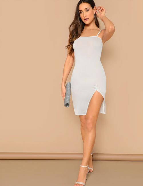 Fitted Split Slip Dress
