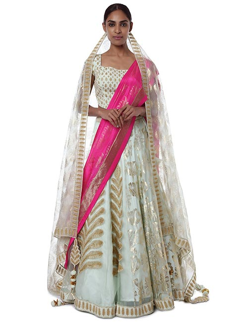Half-And-Half Organza Lehenga Set