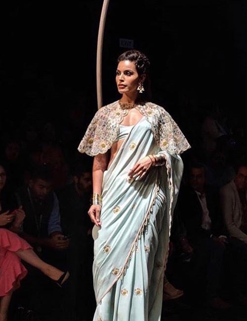Powder Blue Saree And Cape Blouse