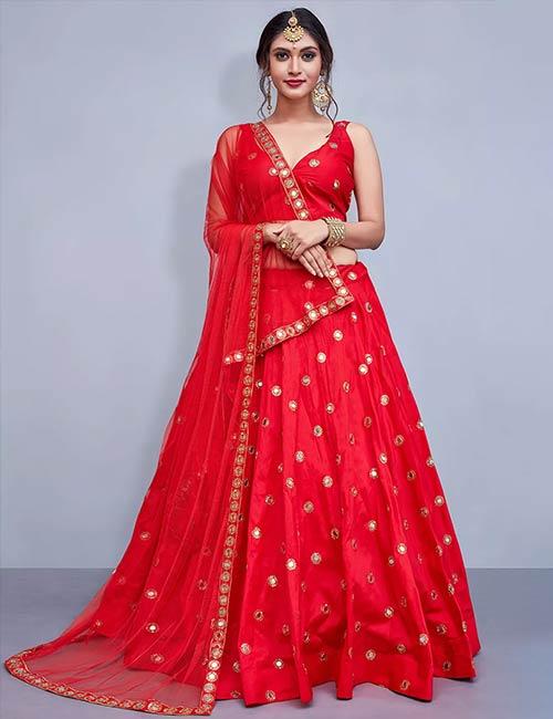 Red Taffeta Silk Lehenga