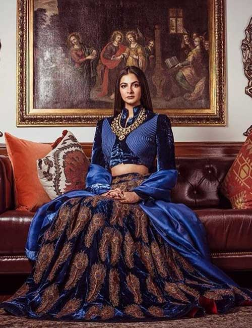 Regal Blue Velvet Lehenga
