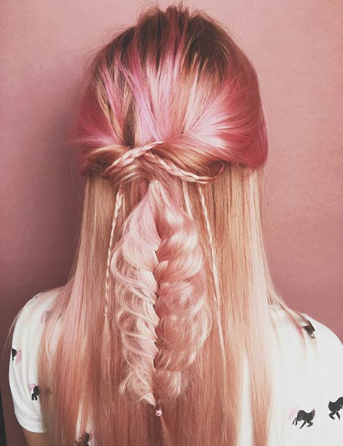 Shutterstock </p> </div> <p>  I&#39;m not sure how this trend started but looks brilliant. Pink gold is a combination of blond and pink hair and looks amazing. Mix it with some pink and keep your roots dark to achieve this look. </p> <h3>  16. Pink accents on blond hair </h3> <div id=