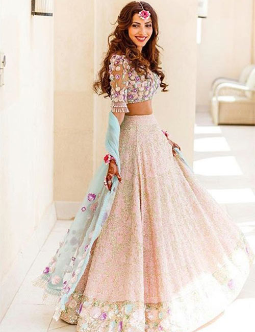 Sequin And Floral Embroidery Lehenga